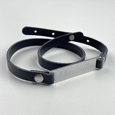 Armband med namn - Svart (Kursiv)