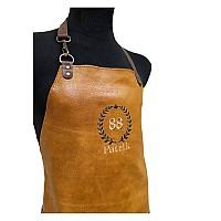 Guldbrunt skinnförkläde med namn - Krans
