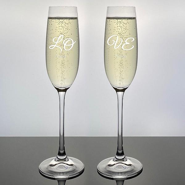 Champagneglas Salute med gravyr - LOVE - 2st