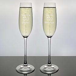 Champagneglas Salute med gravyr - Ringar - 2st