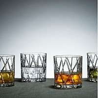 Orrefors City Old Fashioned glas med gravyr i botten