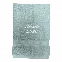 Handduk med namn - Aqua - Kursiv text