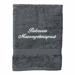Handduk med namn - Grå - Kursiv text