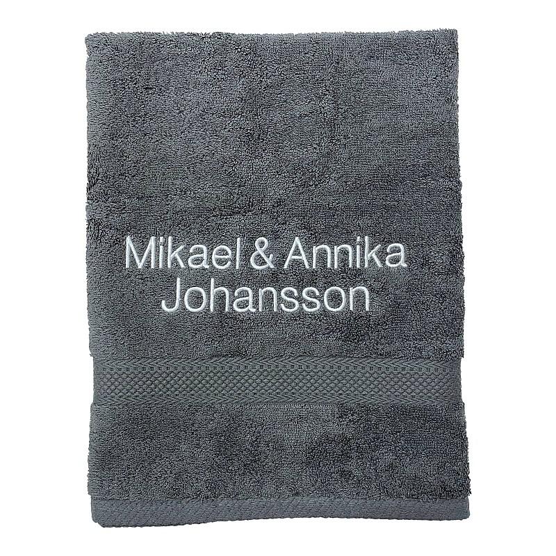 Handduk med namn - Grå - Rak text