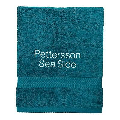 Handduk med namn - Petrol - Rak text