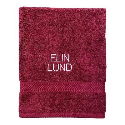 Handduk med namn - Vinröd - Rak text
