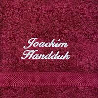 Handduk med namn - Vinröd - Kursiv text