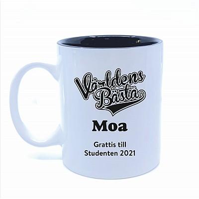 Vit Kaffemugg med namn - Världens Bästa