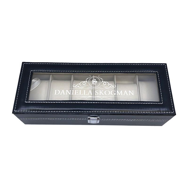 Klockbox för 6 klockor med gravyr