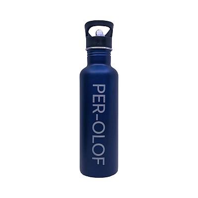 Vattenflaska med namn - Rak Blå