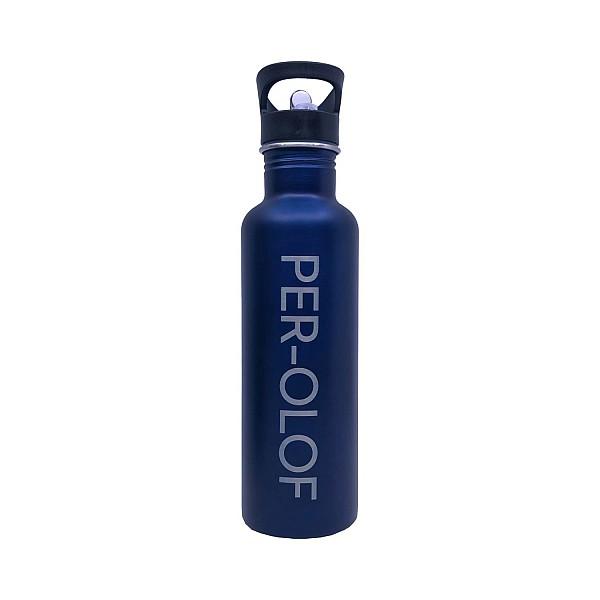 Mattblå vattenflaska med namn