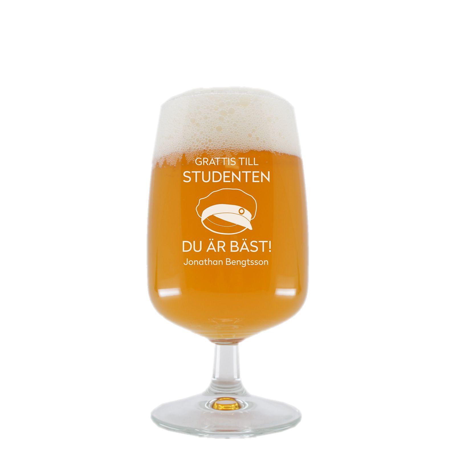 Ölglas med namn - Student