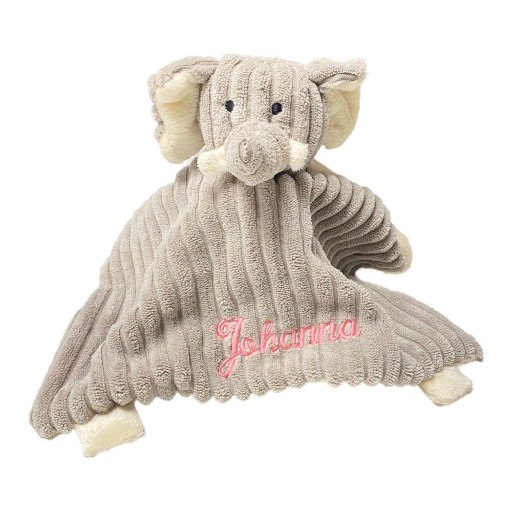 Snuttefilt med broderat namn - Elefant